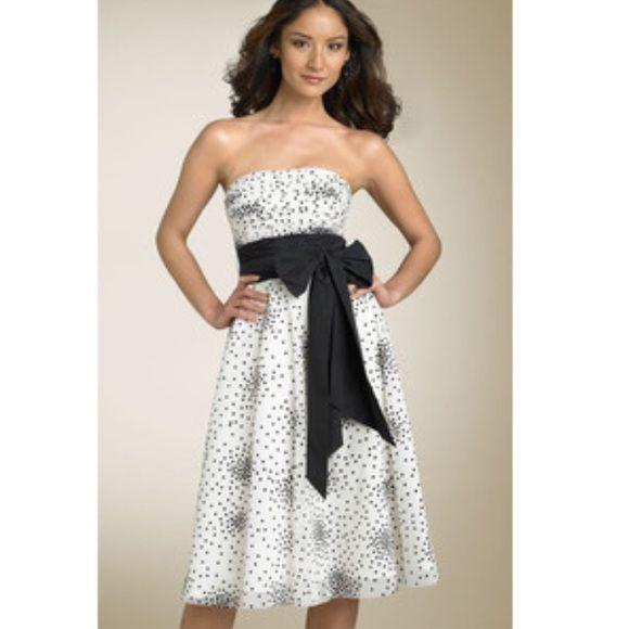 BCBG Strapless Dress strapless polka dot tulle dress with black sash BCBGMaxAzria Dresses Prom