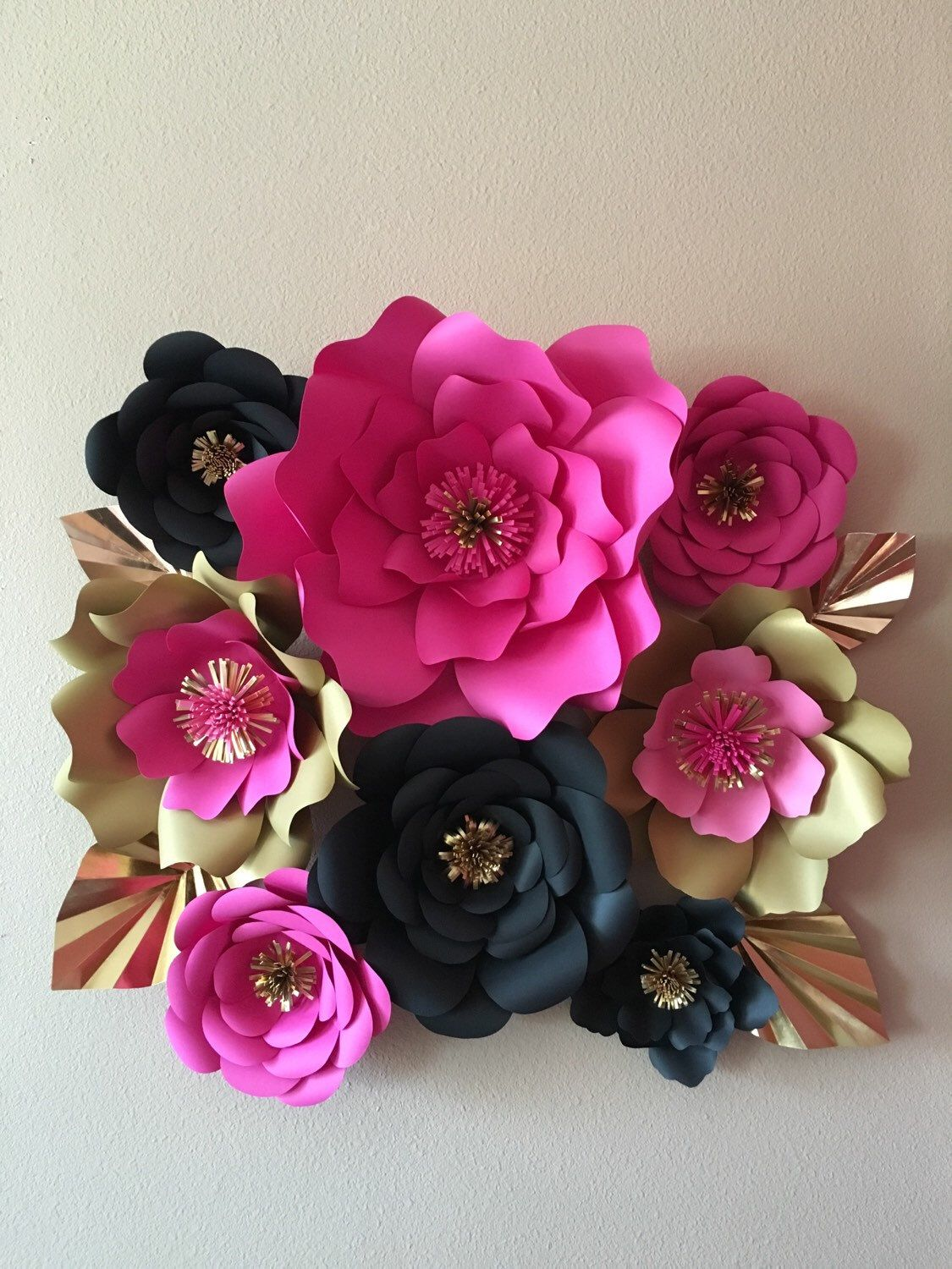 9 Kate Spade Inspired Giant Paper Flowers Decor Pink Gold Black