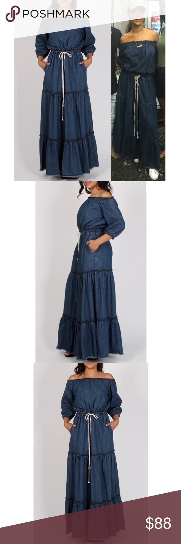 2602ebb7e859 Denim Off Shoulder Tiered Ruffle Jean Maxi Dress Celebrity designer and  Rihanna inspired Dark Denim Off Shoulder Maxi Dress with Tiered Ruffled  Skirt. 3 4 ...