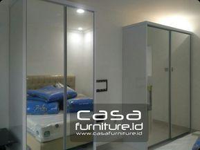 Lemari Pakaian 2 Pintu Geser Dengan Kaca Cermin Apartemen In 2018