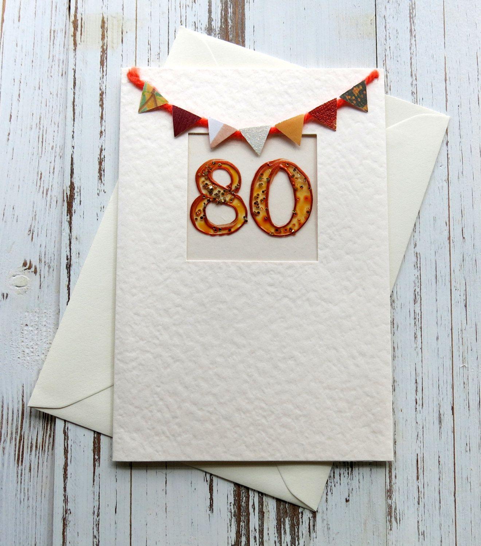 80th birthday card blank card birthday card 80th