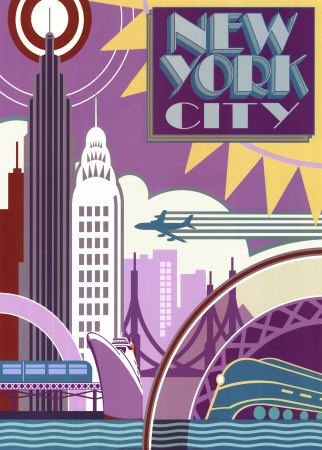 New York City Vintage Travel Posters Art Deco Posters Vintage Art Prints