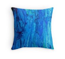 Abstract Dripping Ocean Painting Throw Pillow  Available now on RedBubble