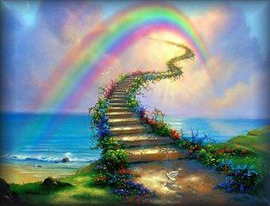 Rainbow Bridge Heaven Painting Stairway To Heaven Stairways