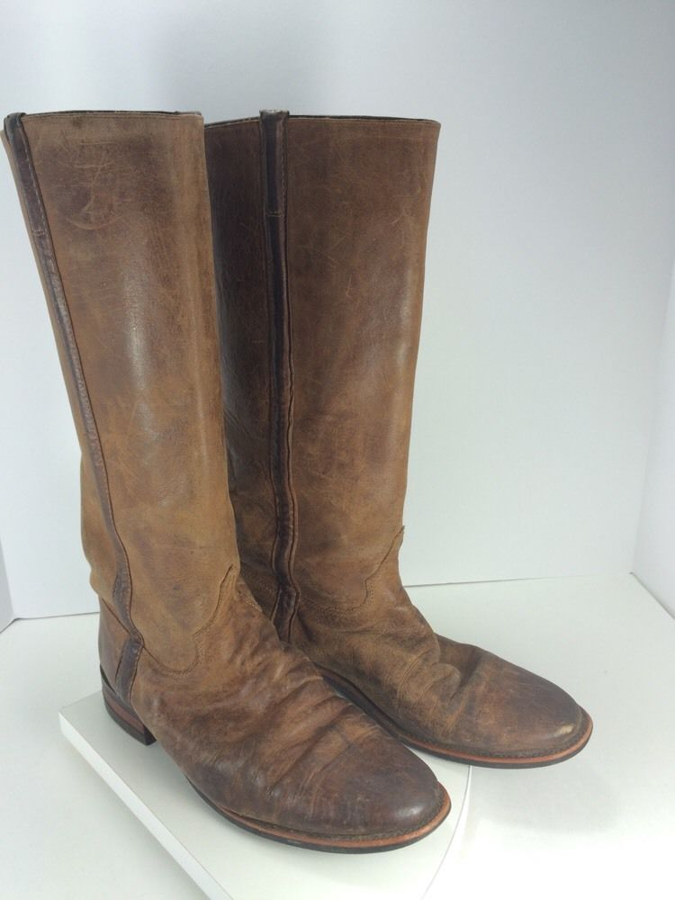 Mens Justin Brown Leather Western Equestrian Riding Boots 14  Tall Size 9.5 B