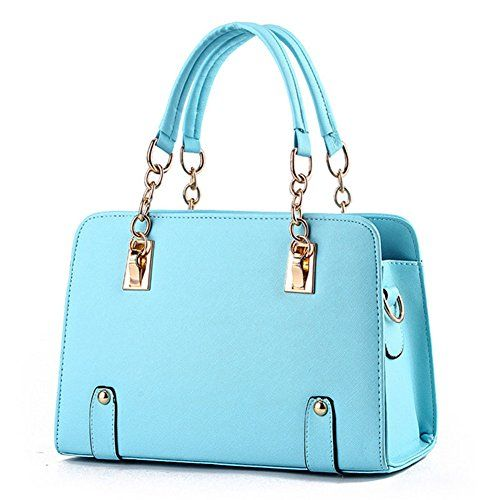 Hynbase Women Fashion Retro Korean Leather Chain Tote Handbag ...