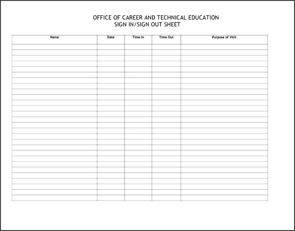 Employee Attendance Word Sheet Attendance Sheet Attendance Sheet Template Sign Out Sheet