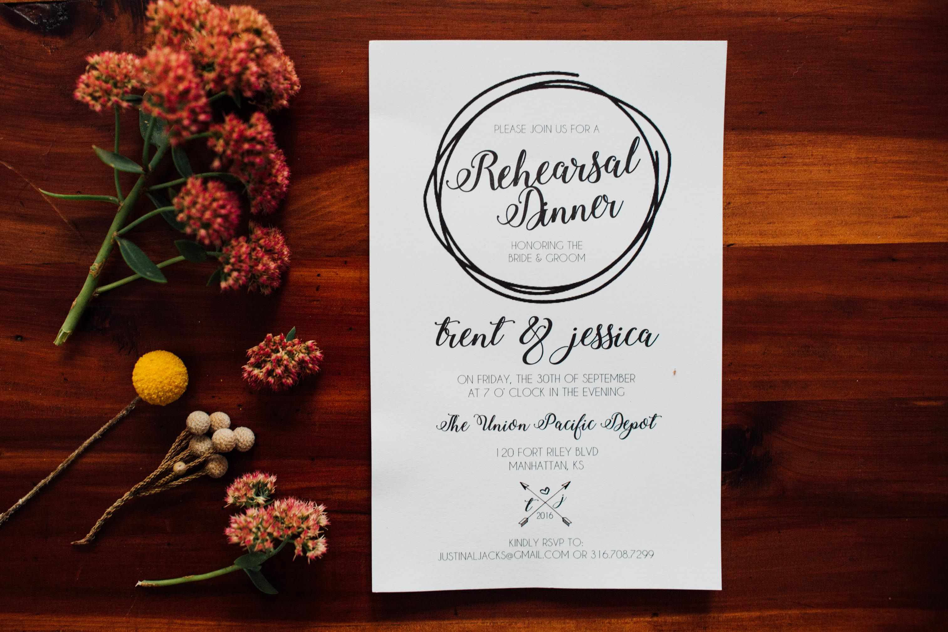 Rehearsal Dinner invitation Photo by Emma York