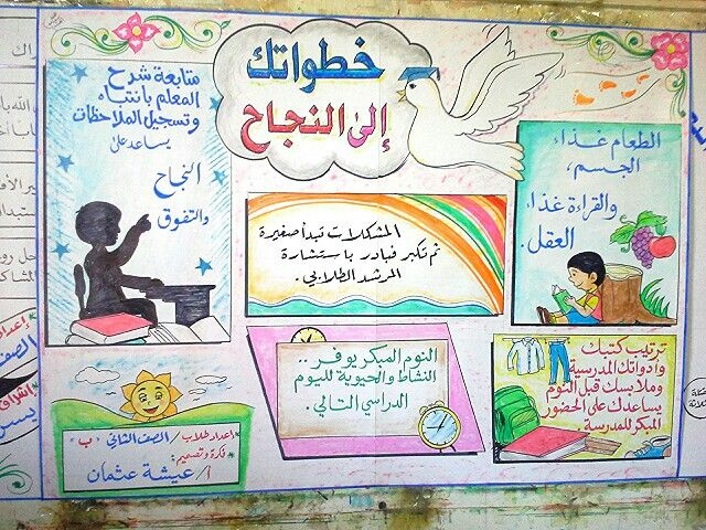 مجلة حائطية بعنوان خطواتك الى النجاح Learning Arabic Kids Education Teach Arabic