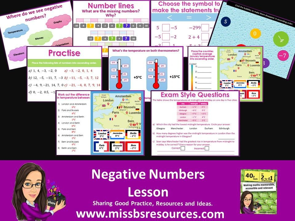 Negative Numbers Number Line, Ordering and Differences