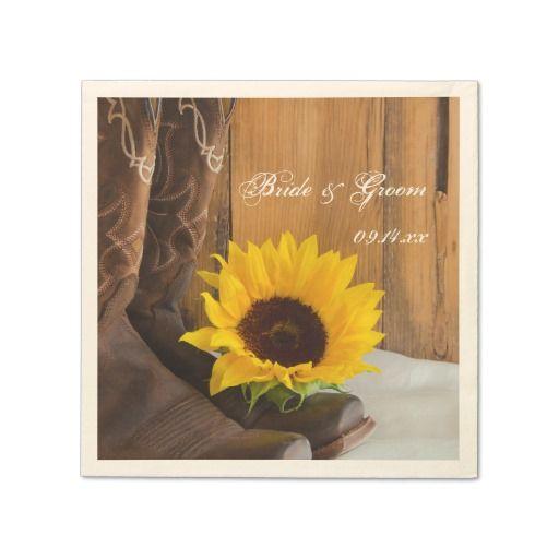 Country Sunflower Western Wedding Paper Napkin