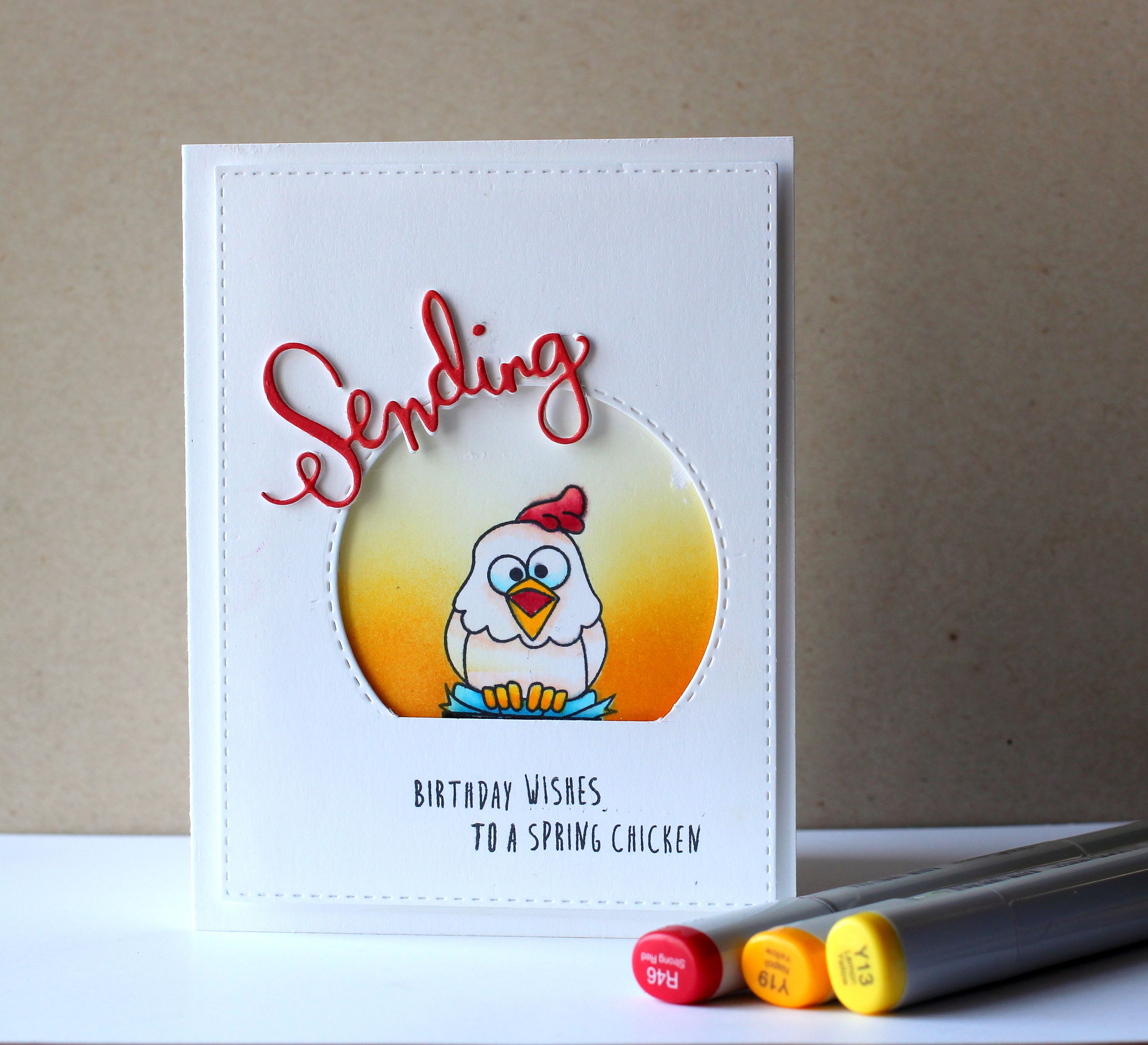 Sending birthday wishes to a spring chicken birthday wishes on ive been really excited to share this card because i am so happy with kristyandbryce Gallery