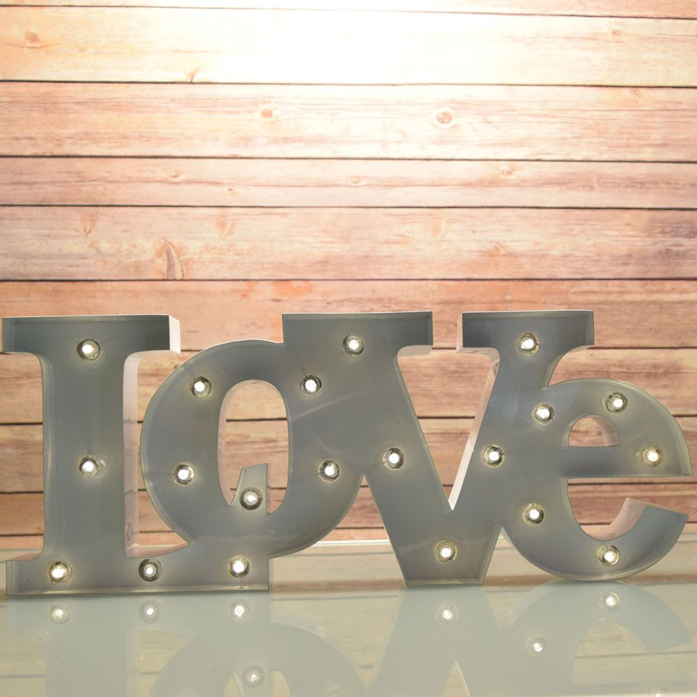 Marquee Light White LOVE Word LED Metal Sign Battery Operated