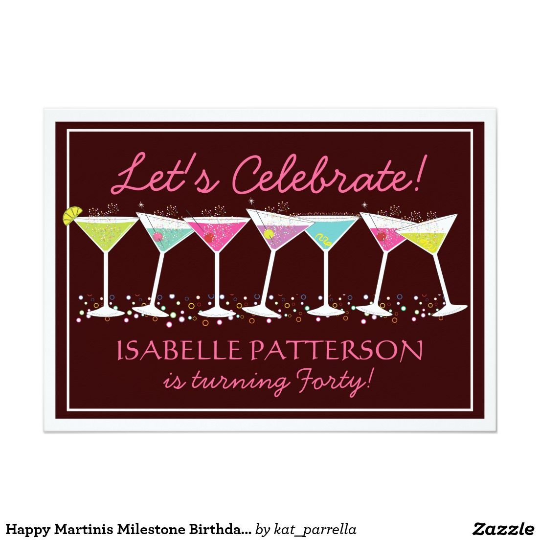 Happy martinis milestone birthday party invitation 5 x 7 happy martinis milestone birthday party invitation x invitation cards personalize back of invites with your party details designed by katparrella kristyandbryce Image collections