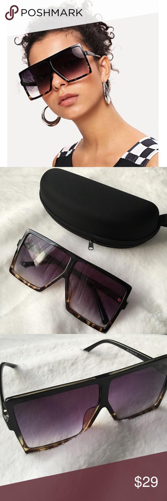 5cd76a0086bc30 Flat Top Oversized Sunglasses NEW Flat top oversized sunglasses. Frame is  black fade to leopard