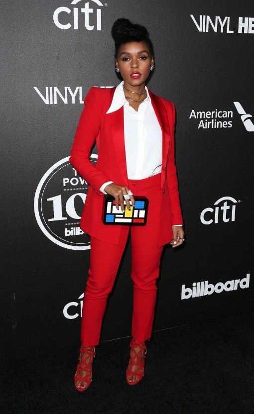 90aeb40577b9f Janelle Monae looking unbelievably perfect in that red trouser suit and  geometric clutch!!