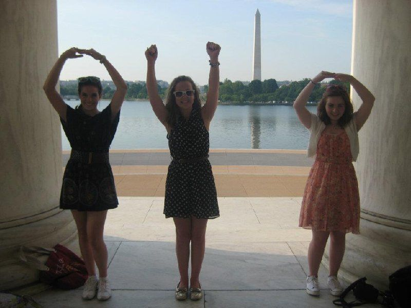 With the help of the Washington Monument: 8th Graders from Our Lady Of Peace school trip love OHIO