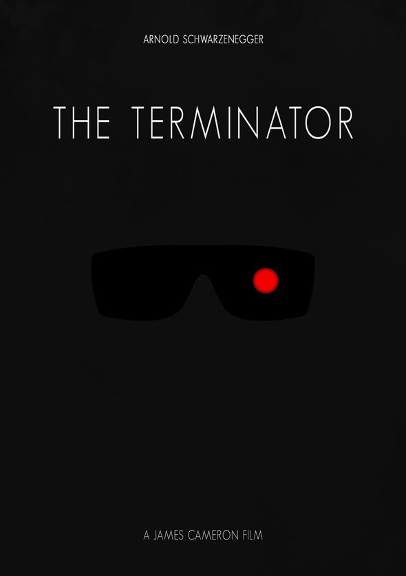 This is a minimal illustration that uses the idea of a constrained visual language to portray the movie 'Terminator'. While the poster is very minimal, it is very strong in its visual communication of the movie, it gives out a dark atmosphere of the movie while keeping it based on one specific topic; the terminator.
