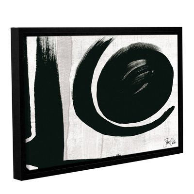 "Wade Logan Black and White Abstract V Framed Painting Print Size: 24"" H x 36"" W x 2"" D"