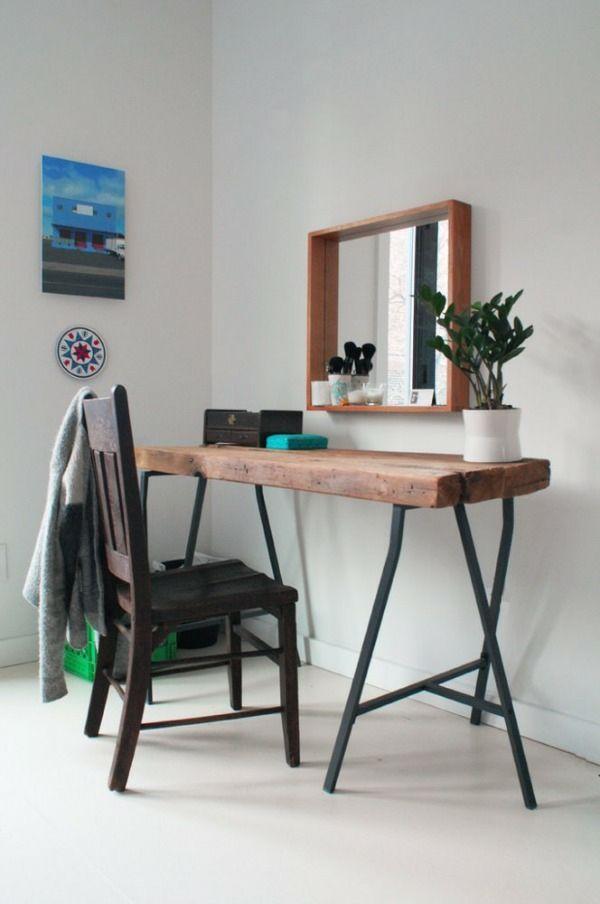 Tisch Aus Baumstamm Wand Spiegel Minimalistisch Stil Furniture