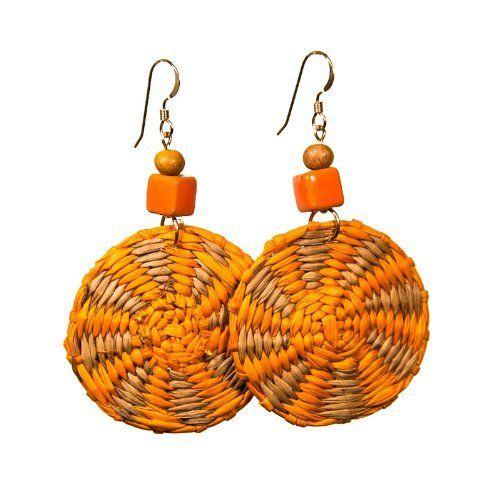 Orange and Tan Iraca Fiber Disc Earrings Randall V Designs, http://www.amazon.com/dp/B00ANFR2UI/ref=cm_sw_r_pi_dp_qMRYqb1N7AQKW