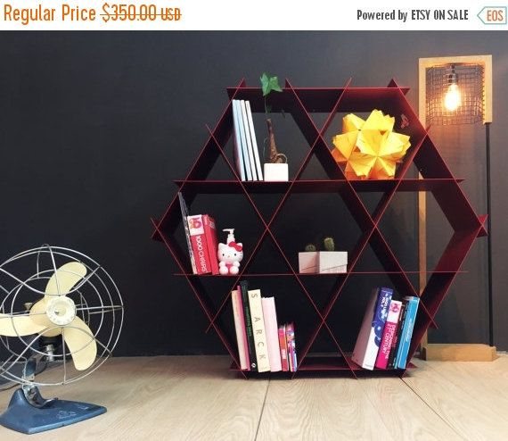 ON SALE Large Geometric Shelf Bookshelf Furniture By RucheShelving