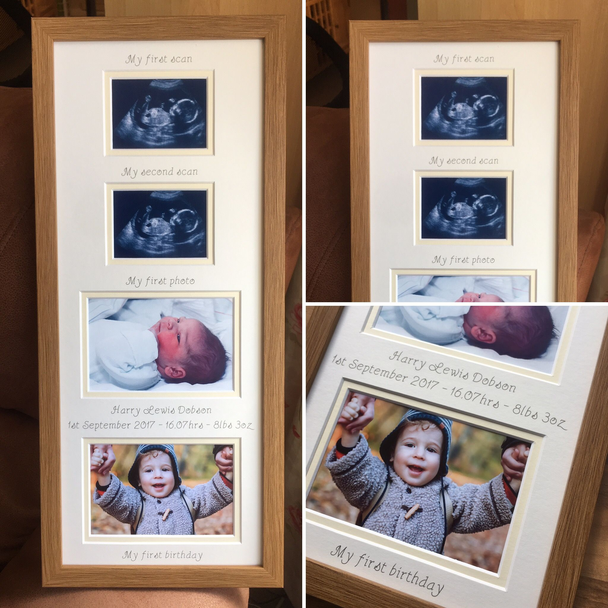 Baby Scans to 1 year Collage Picture Frame 20 x 8, Oak | Collage ...