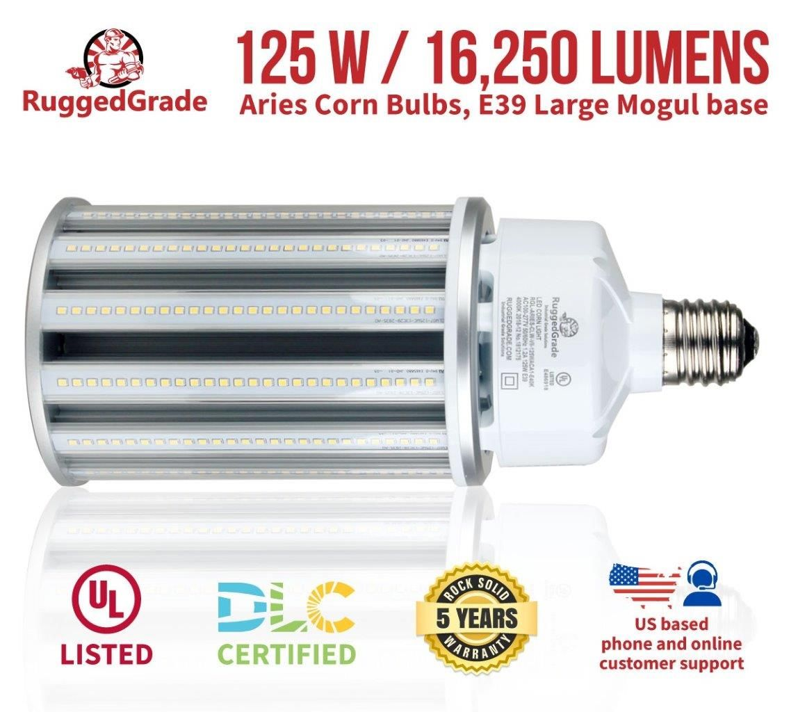 125 Watt E39 Led Corn Light Bulb Aries Series 16 250 Lumens 5000k Led Replacement For 400 Watt Metal Halide Bulb Light Bulb 5000k