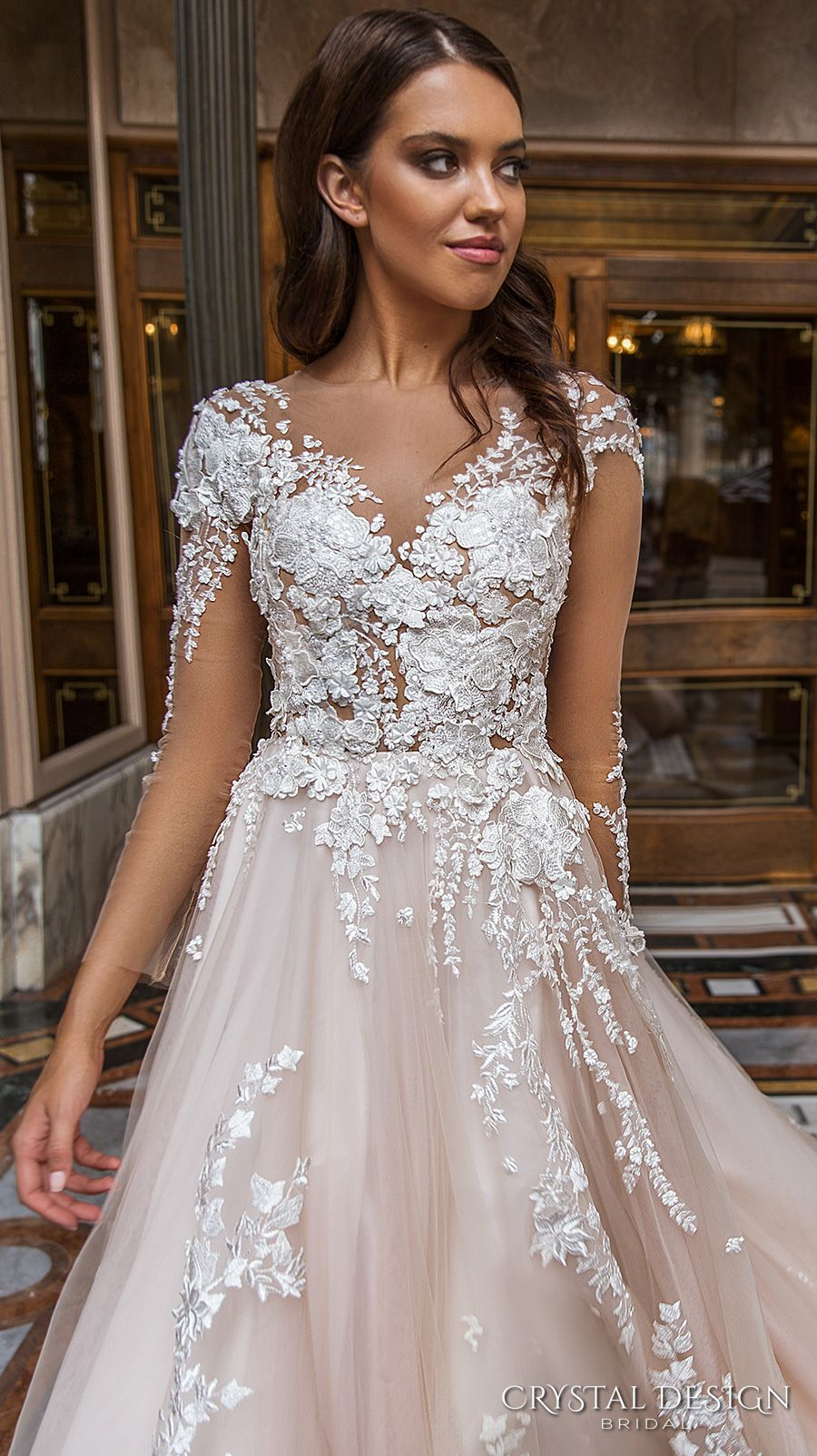 72fb611c972e crystal design 2017 bridal long sleeves v neck heavily embellished lace  embroidered romantic princess blush color