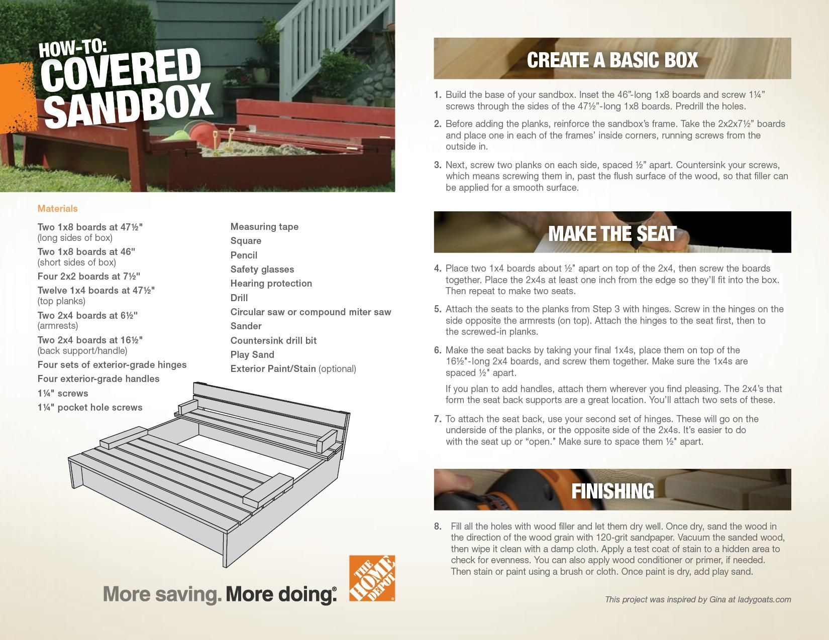 Downloadable Plans For A Covered Sandbox DIY Project From The Home - Home depot protection plan