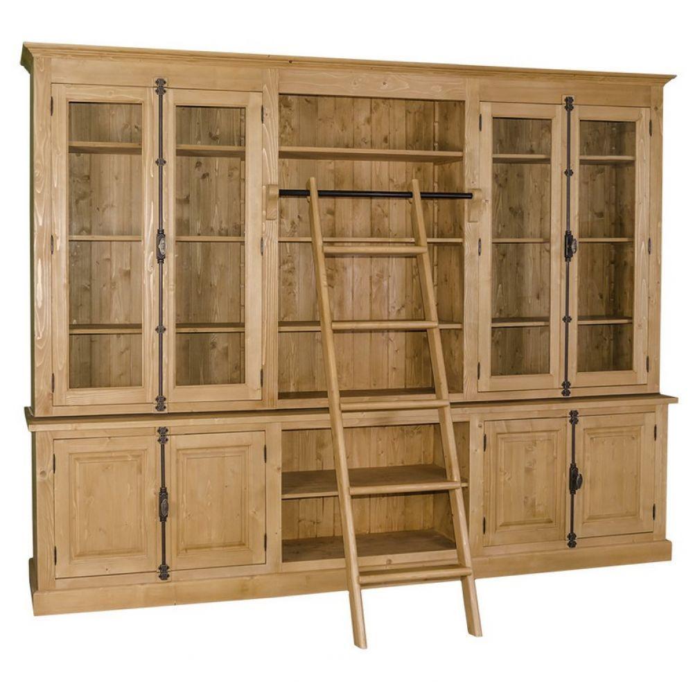 gro es b cherregal mit leiter b roschrank abschlie bar franz sische landhausm bel wohnzimmer. Black Bedroom Furniture Sets. Home Design Ideas
