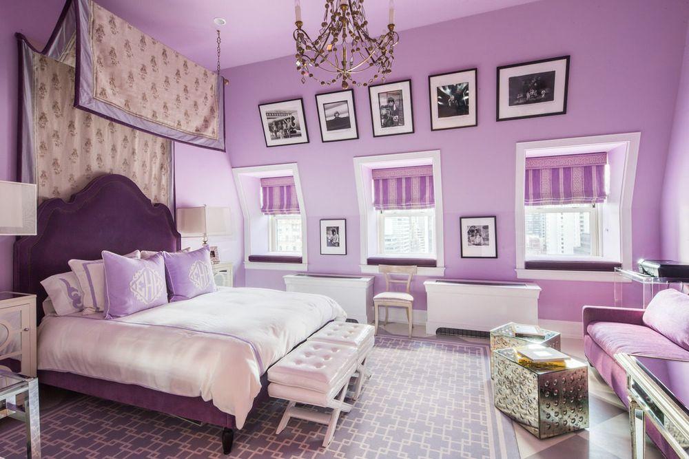 Tommy Hilfiger Plaza Penthouse Is For Sale Purple Bed Frame Purple Master Bedroom Feminine Bedroom