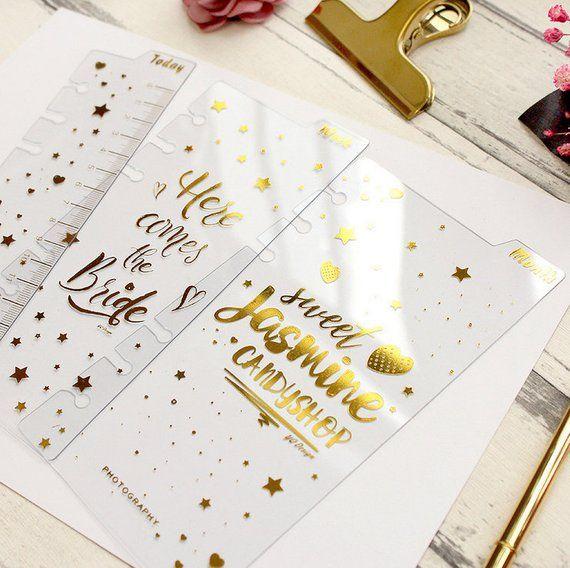 Set Of 3,Golden Words Planner Dividers, Planner Dashboard