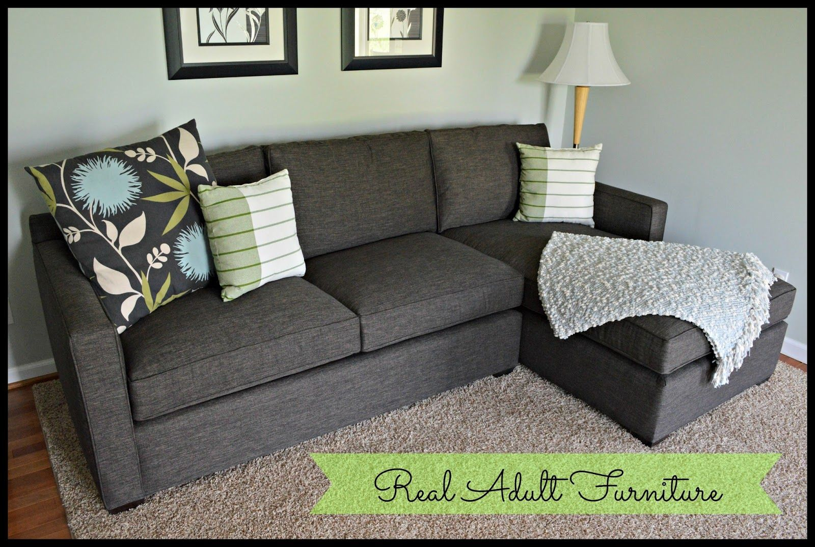 Crate Barrel Davis Sectional In Graphite Leather Sofa And