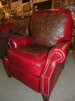 Red Tooled Leather Recliner Leather Recliner Recliner