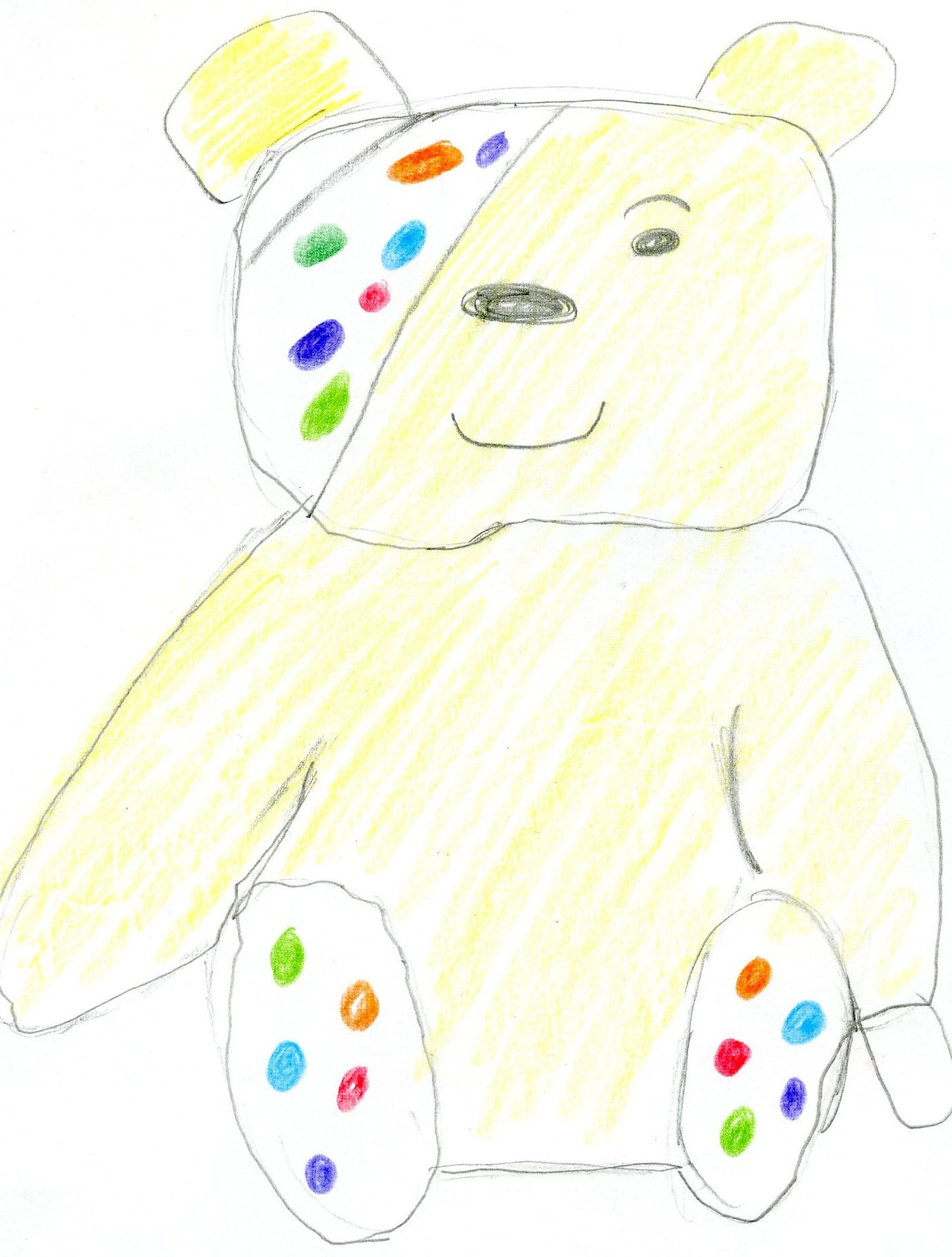 A Pudsey bear drawn by a younger guest who stayed in Waterfall ...