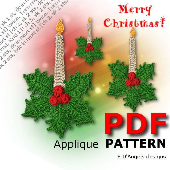 Crochet Pattern Christmas Pattern Crochet Candle And Holly