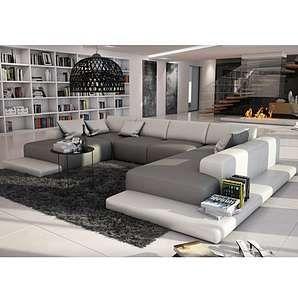 xxl sofa u form, xxl wohnlandschaft u-form cosy - grau-weiß | 单沙发 | pinterest, Design ideen
