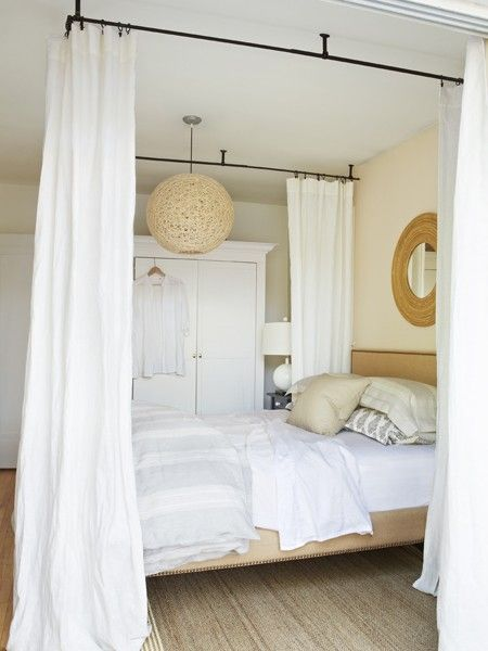 DIY Ceiling-Mounted Canopy Bed - give an ordinary bed a new look - use curtain rod hardware ceiling brackets and ready-made drapes to craft this look. & Photo Gallery: Bedroom Makeover u0026 Storage Tips | Canopy Budget ...