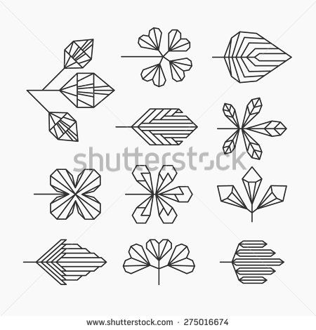 Hipster geometrical leaves, set of isolated symbols, logos