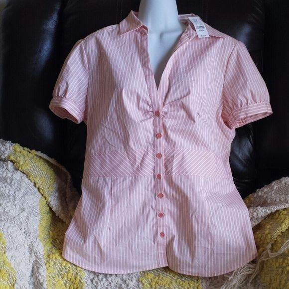 Gifted to return buyer Liza @lizamaeperry Perfect for the office or brunch. Lovely peach color with white stripes and a hint of silver on lining. Sleeves have elastic ruffles to provide comfort. Label reads XL but runs more like a large. NWT/ never worn condition. Comes with extra button attached to tags.  SMOKE &PET FREE HOME. Add on to any order for $5 or free for return buyers (any $25 + purchase) New York & Company Tops