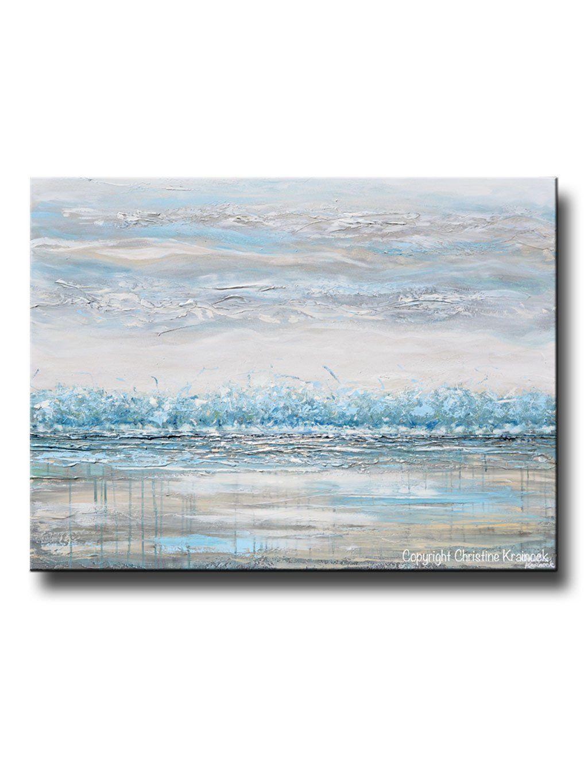 Original Art Abstract Painting Landscape Horizon Teal Blue Grey