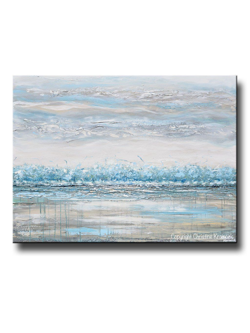 Original Art Abstract Painting Landscape Horizon Teal Blue Grey
