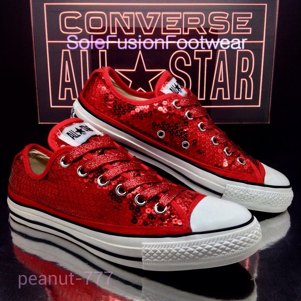 Converse womens Sequin Glitter Sparkle Shoes Red Size 7 Ladies sz US 8 EU 40  VTG
