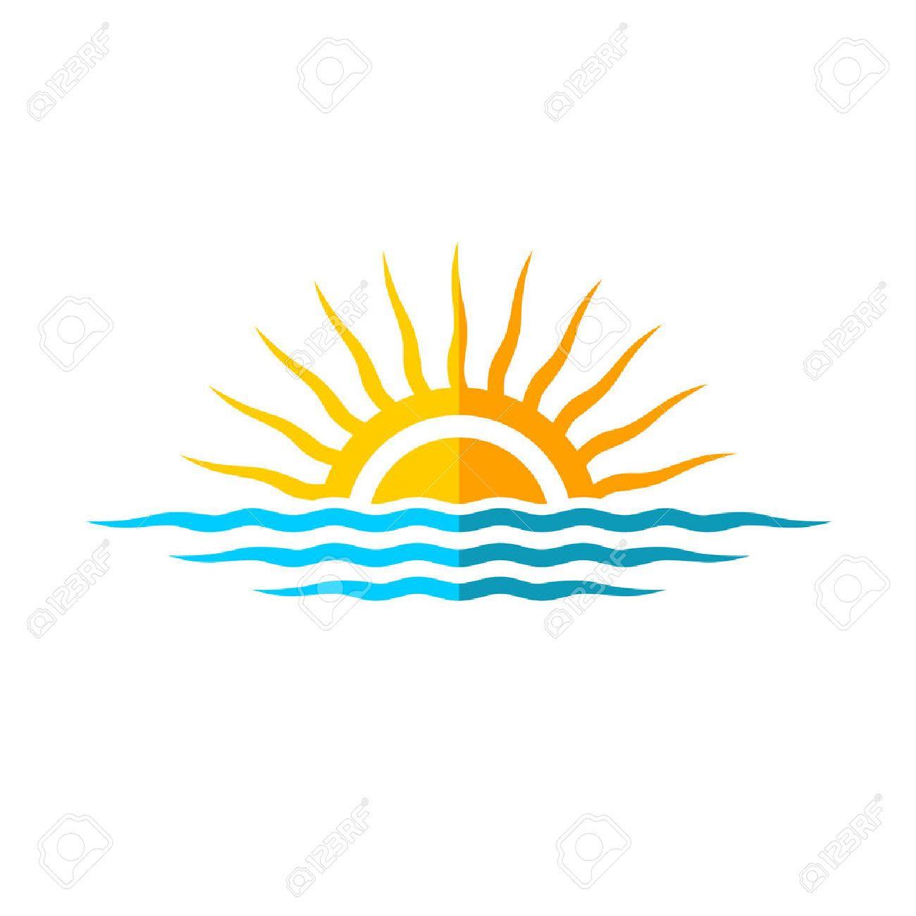 39327612 travel logo template sun with sea waves stock photo jpg rh pinterest com Seagull Vector Red Sunset