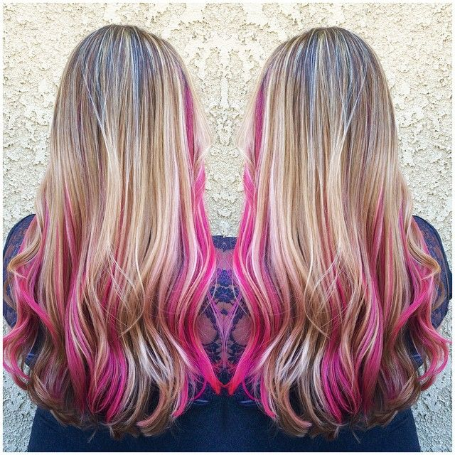 streaked blonde with hot pink underneath hair styles i