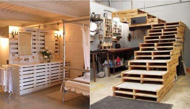 Ideen Paletten Badezimmer Waschtisch Schrank Treppen