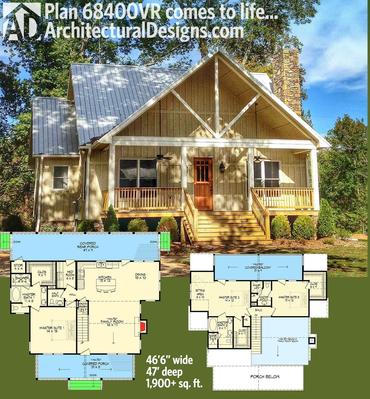 Architectural Designs House Plan 68400VR. A Front Porch And Two In Back    One Off