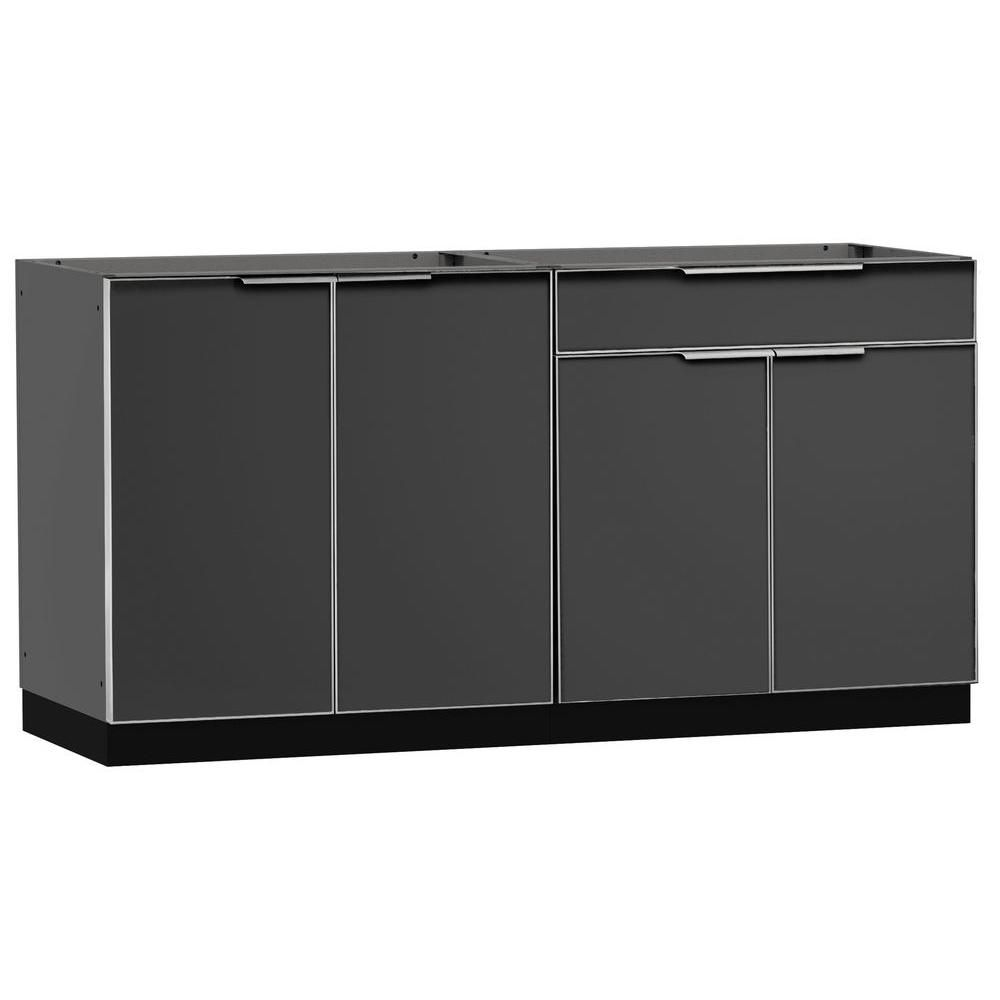 Newage Products Aluminum Slate 2 Piece 64x23x36 In Outdoor Kitchen Cabinet Set On Casters Without Counter Tops Products Outdoor Kitchen Cabinets Outdoor