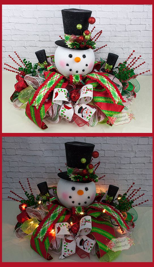 Xl Light Up Snowman Centerpiece Christmas Top Hat Raz Table Decor By Splendid Homecrafts